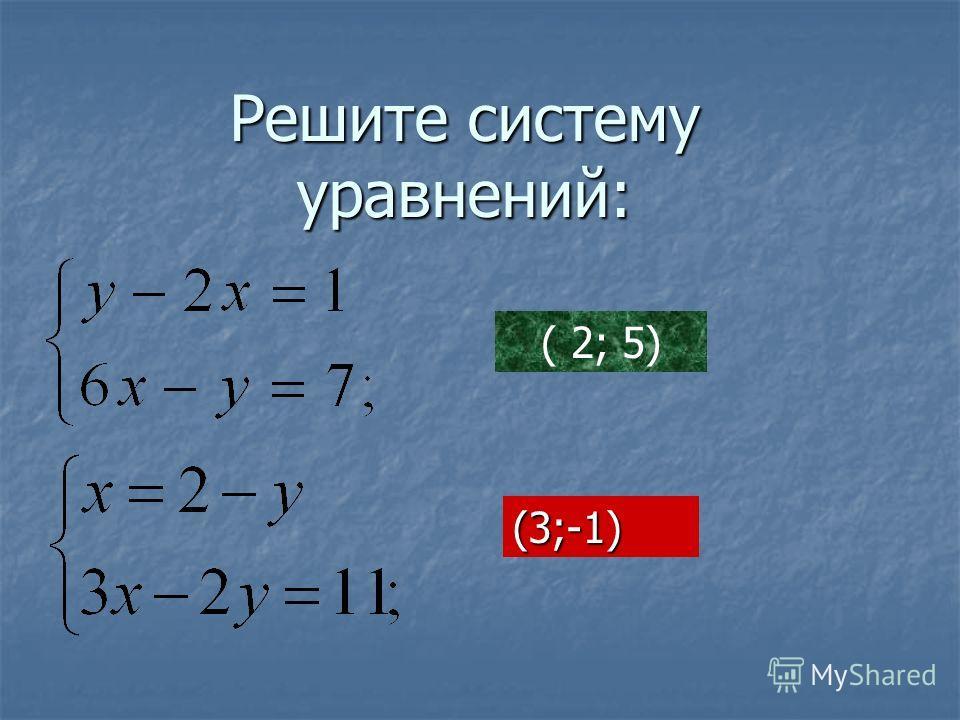 Решите систему уравнений: ( 2; 5) (3;-1)