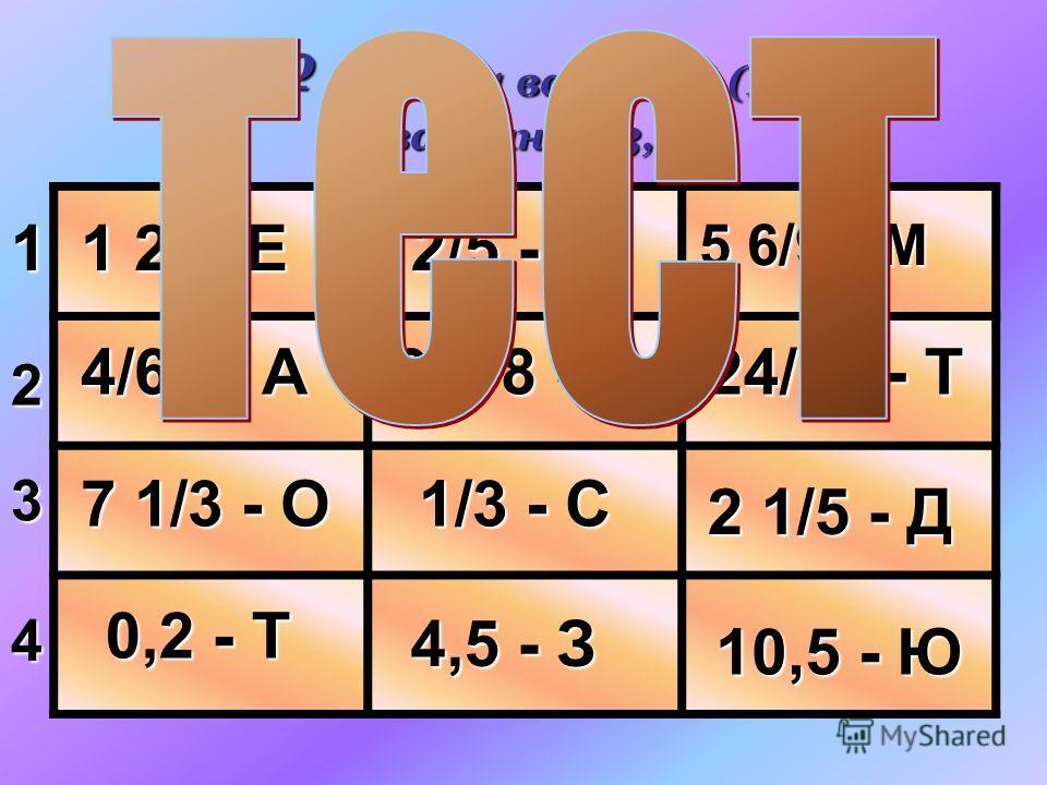 662. 1 вариант (1,2) 2 вариант (3,4) 1 2 3 4 1 2/5-Е 2/5 - К 5 6/9 - М 4/61 - А 3 3/8 - Р 24/39 - Т 7 1/3 - О 1/3 - С 2 1/5 - Д 0,2 - Т 4,5 - З 10,5 - Ю