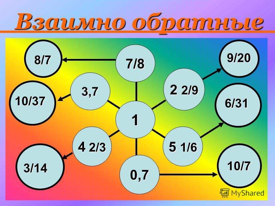 Взаимно обратные 1 7/8 2 2/9 5 1/6 0,7 4 2/3 3,7 8/7 9/20 6/31 10/7 3/14 10/37