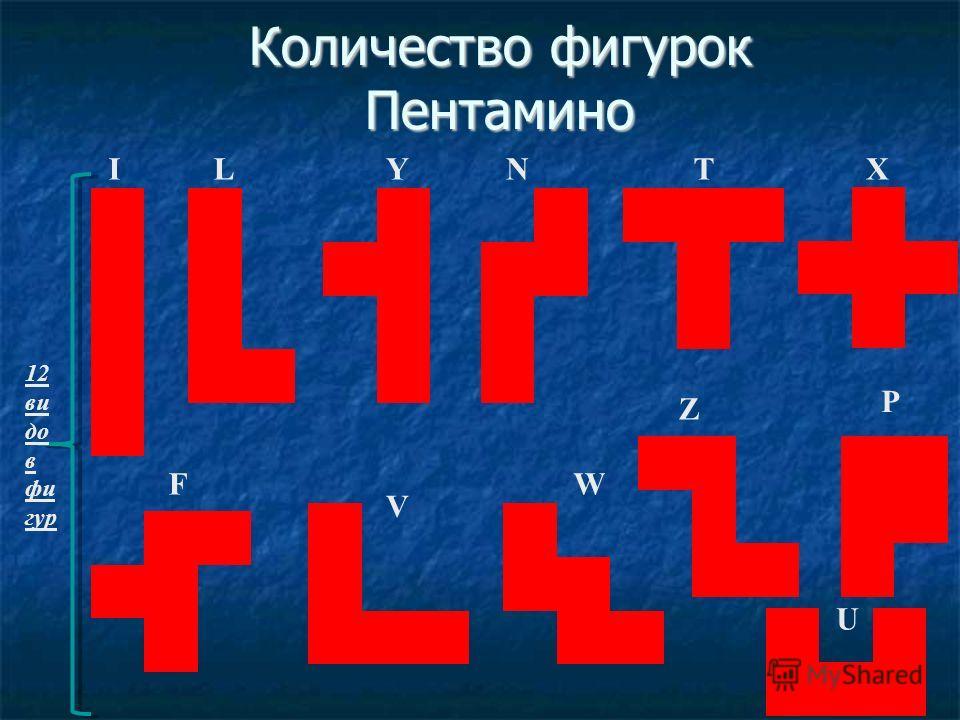 ILYNTX F U V W Z P 12 ви до в фи гур Количество фигурок Пентамино