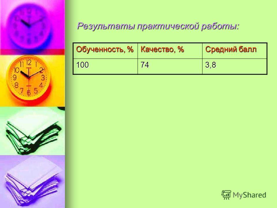 Результаты практической работы: Обученность, % Качество, % Средний балл 100743,8