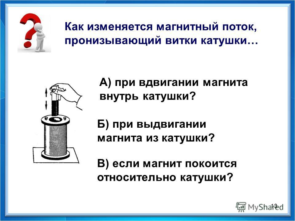 В) если магнит покоится относительно катушки? Как изменяется магнитный поток, пронизывающий витки катушки… А) при вдвигании магнита внутрь катушки? Б) при выдвигании магнита из катушки? 13