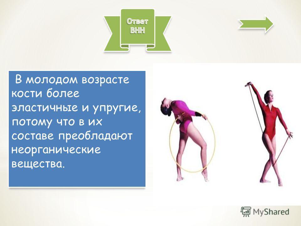 В молодом возрасте кости более эластичные и упругие, потому что в их составе преобладают неорганические вещества.