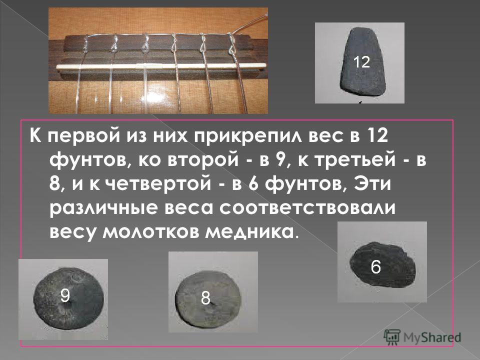 К первой из них прикрепил вес в 12 фунтов, ко второй - в 9, к третьей - в 8, и к четвертой - в 6 фунтов, Эти различные веса соответствовали весу молотков медника.