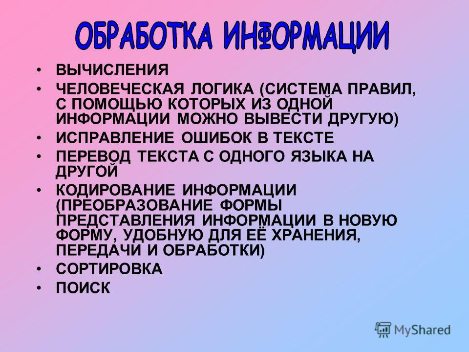 ВЫЧИСЛЕНИЯ ЧЕЛОВЕЧЕСКАЯ ЛОГИКА (СИСТЕМА ПРАВИЛ, С ПОМОЩЬЮ КОТОРЫХ ИЗ ОДНОЙ ИНФОРМАЦИИ МОЖНО ВЫВЕСТИ ДРУГУЮ) ИСПРАВЛЕНИЕ ОШИБОК В ТЕКСТЕ ПЕРЕВОД ТЕКСТА С ОДНОГО ЯЗЫКА НА ДРУГОЙ КОДИРОВАНИЕ ИНФОРМАЦИИ (ПРЕОБРАЗОВАНИЕ ФОРМЫ ПРЕДСТАВЛЕНИЯ ИНФОРМАЦИИ В НО