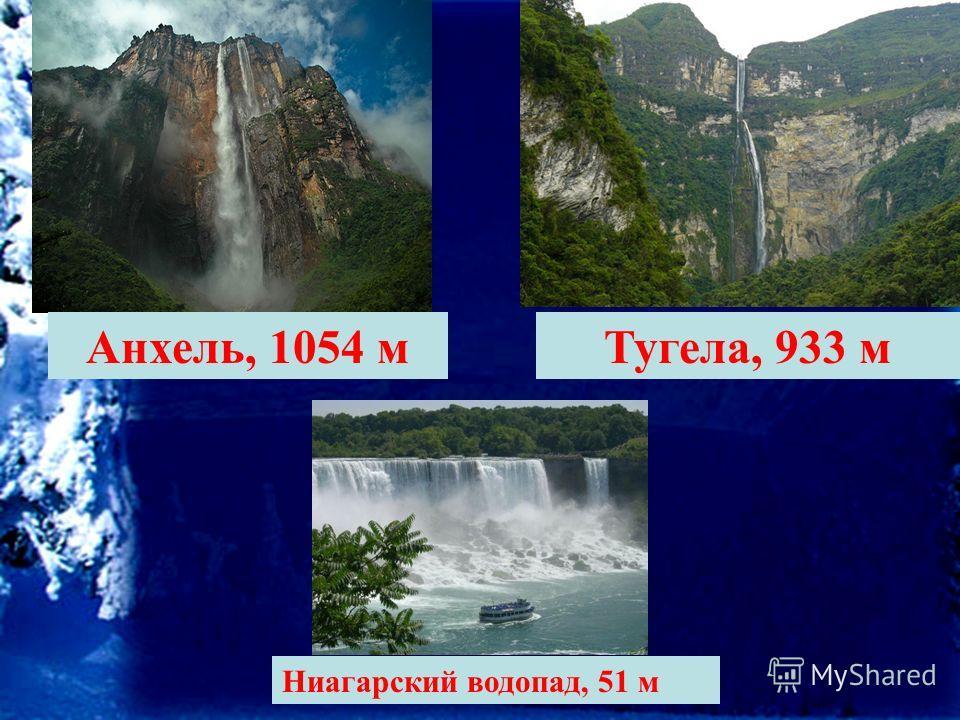 Анхель, 1054 мТугела, 933 м Ниагарский водопад, 51 м