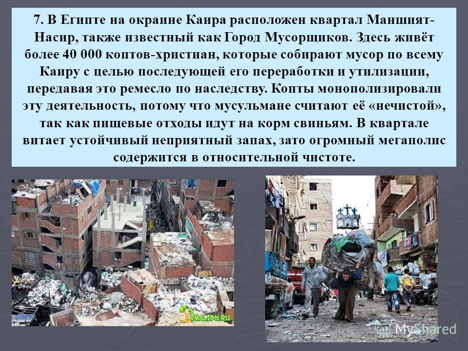 7. В Египте на окраине Каира расположен квартал Маншият- Насир, также известный как Город Мусорщиков. Здесь живёт более 40 000 коптов-христиан, которые собирают мусор по всему Каиру с целью последующей его переработки и утилизации, передавая это реме