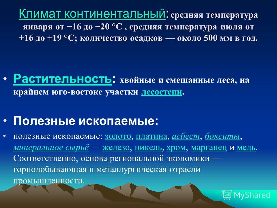 Климат континентальныйКлимат континентальный: средняя температура января от 16 до 20 °C, средняя температура июля от +16 до +19 °C; количество осадков около 500 мм в год. Климат континентальный Растительность: хвойные и смешанные леса, на крайнем юго