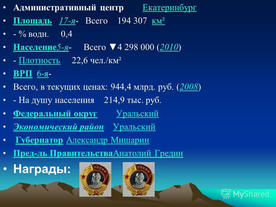 Административный центр ЕкатеринбургЕкатеринбург Площадь 17-я- Всего 194 307 км²Площадь17-якм² - % водн. 0,4 Население5-я- Всего 4 298 000 (2010)Население5-я2010 - Плотность 22,6 чел./км²Плотность ВРП 6-я-ВРП6-я Всего, в текущих ценах: 944,4 млрд. руб