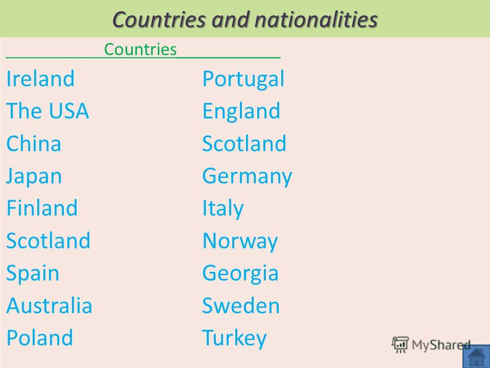 Countries and nationalities Countries___________ Ireland Portugal The USAEngland ChinaScotland JapanGermany FinlandItaly ScotlandNorway SpainGeorgia AustraliaSweden PolandTurkey
