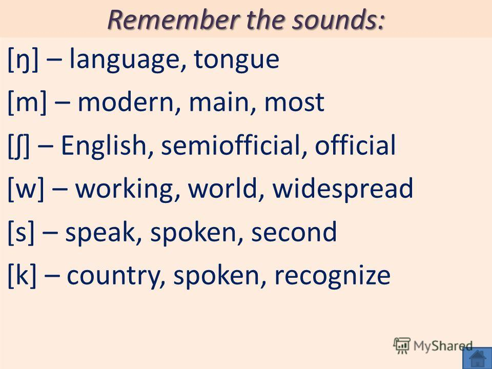 Remember the sounds: [ŋ] – language, tongue [m] – modern, main, most [ʃ] – English, semiofficial, official [w] – working, world, widespread [s] – speak, spoken, second [k] – country, spoken, recognize