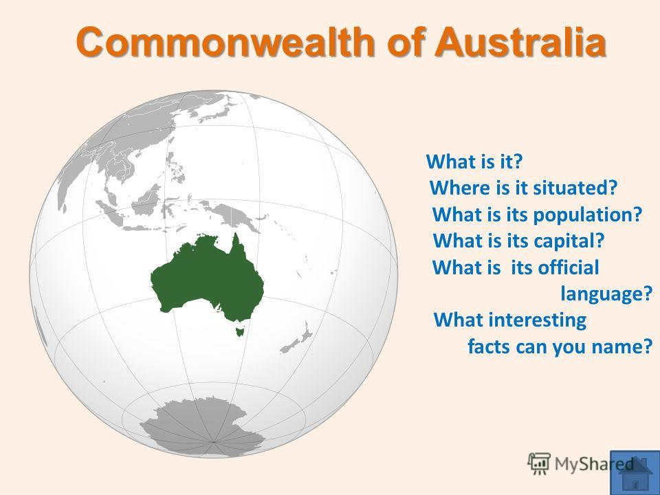 Commonwealth of Australia What is it? Where is it situated? What is its population? What is its capital? What is its official language? What interesting facts can you name?