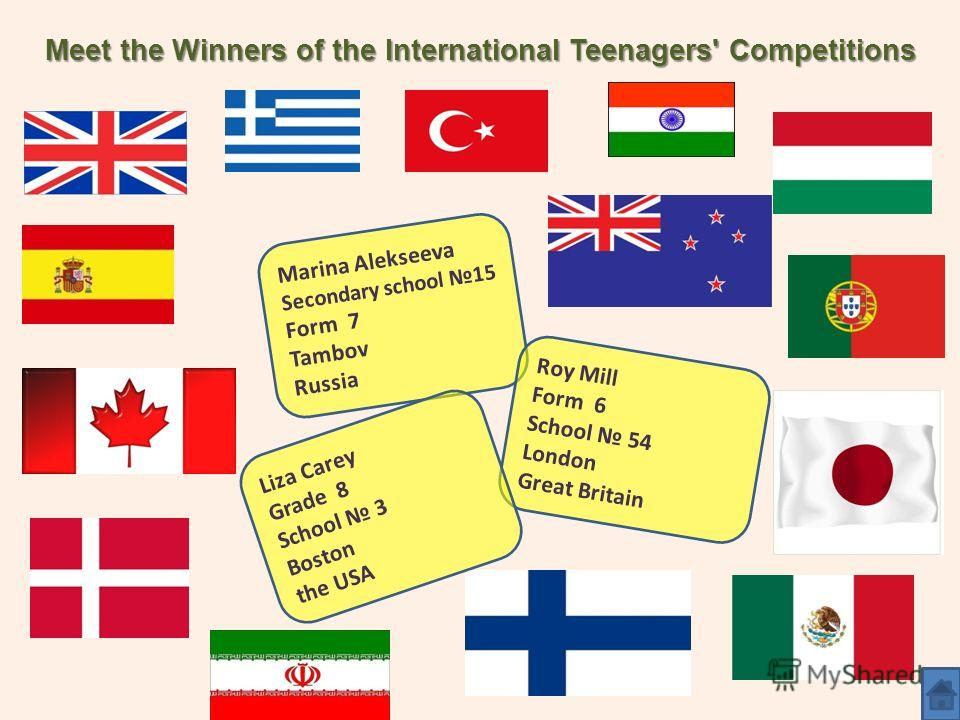 Meet the Winners of the International Teenagers' Competitions Marina Alekseeva Secondary school 15 Form 7 Tambov Russia Roy Mill Form 6 School 54 London Great Britain Liza Carey Grade 8 School 3 Boston the USA