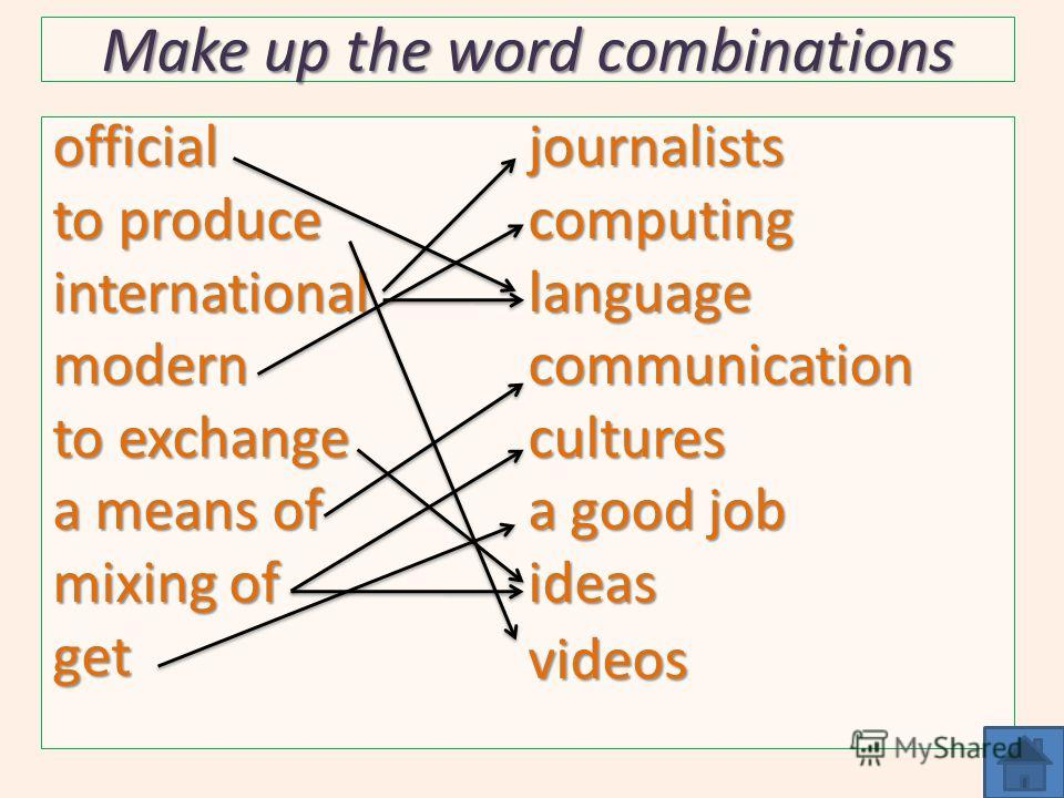 Make up the word combinations official to produce internationalmodern to exchange a means of mixing of getjournalistscomputinglanguagecommunicationcultures a good job ideasvideos