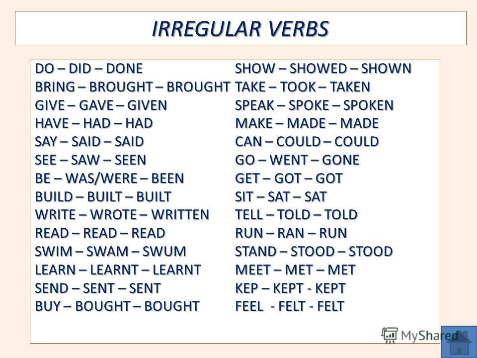 IRREGULAR VERBS DO – DID – DONE BRING – BROUGHT – BROUGHT GIVE – GAVE – GIVEN HAVE – HAD – HAD SAY – SAID – SAID SEE – SAW – SEEN BE – WAS/WERE – BEEN BUILD – BUILT – BUILT WRITE – WROTE – WRITTEN READ – READ – READ SWIM – SWAM – SWUM LEARN – LEARNT