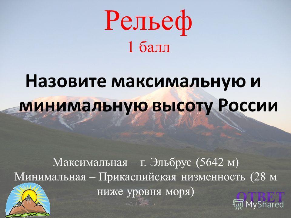 Рельеф 1 балл Назовите максимальную и минимальную высоту России Максимальная – г. Эльбрус (5642 м) Минимальная – Прикаспийская низменность (28 м ниже уровня моря)