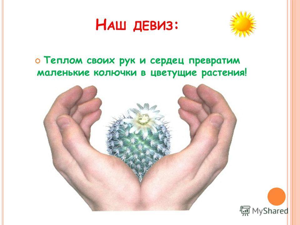 Н АШ ДЕВИЗ : Теплом своих рук и сердец превратим маленькие колючки в цветущие растения!