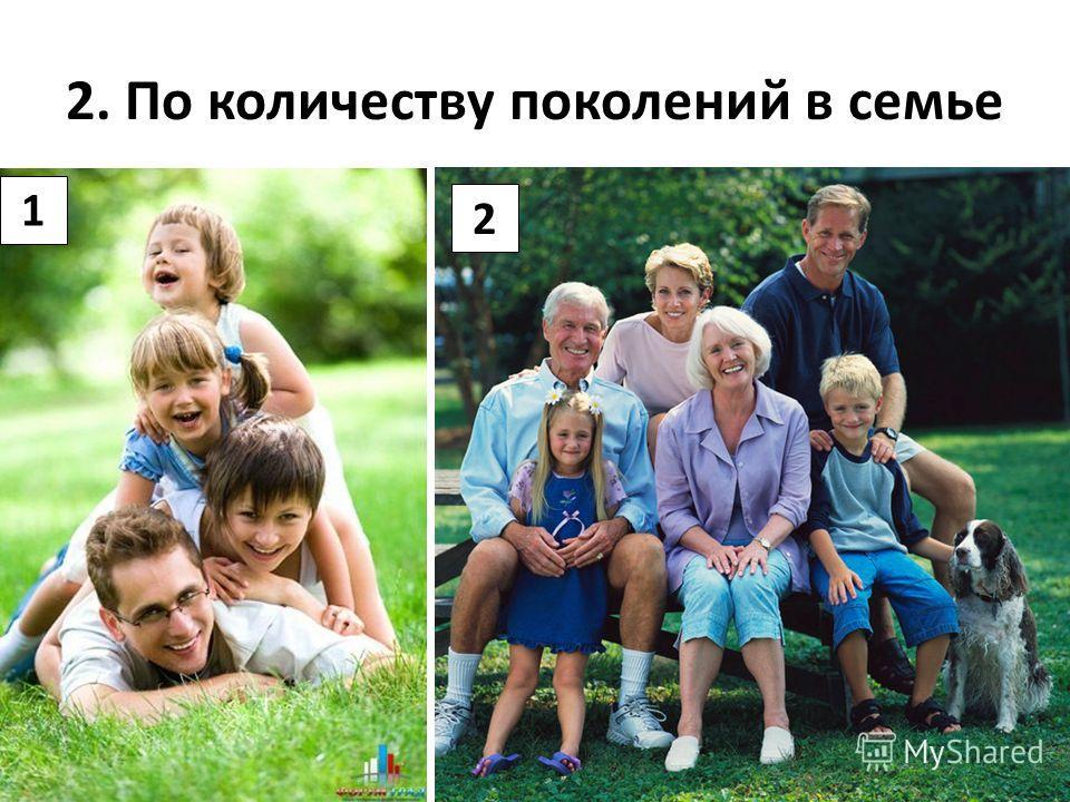 2. По количеству поколений в семье 1 2