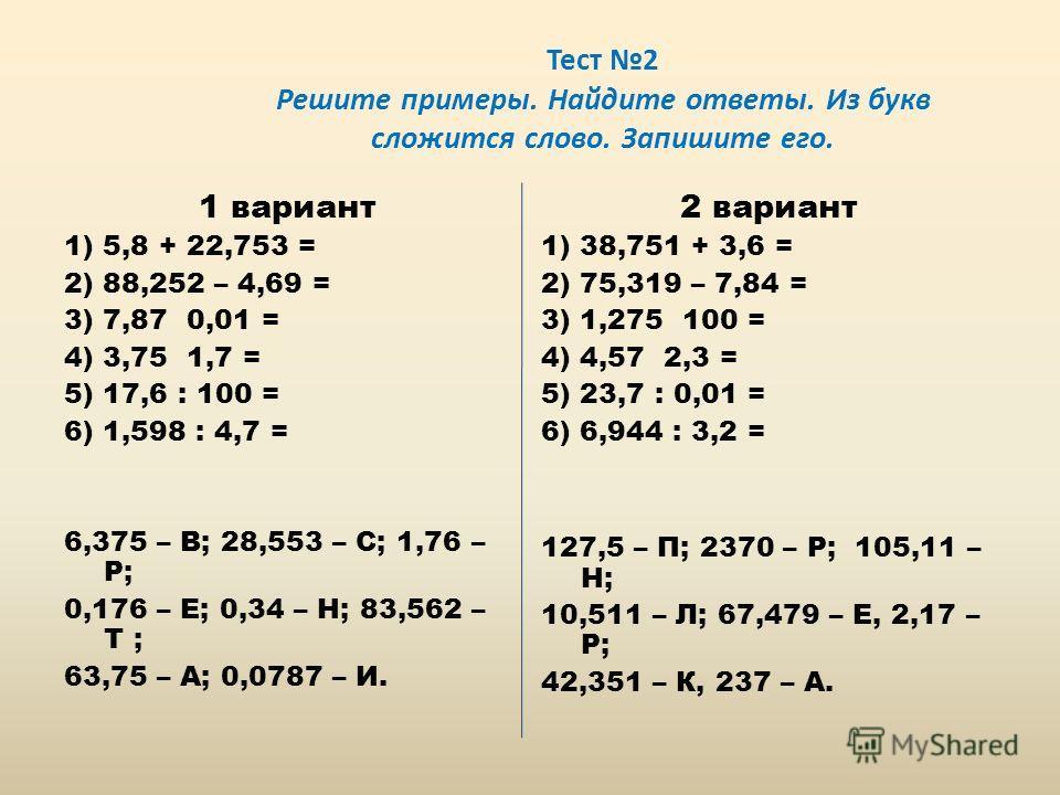 Тест 2 Решите примеры. Найдите ответы. Из букв сложится слово. Запишите его. 1 вариант 1) 5,8 + 22,753 = 2) 88,252 – 4,69 = 3) 7,87 0,01 = 4) 3,75 1,7 = 5) 17,6 : 100 = 6) 1,598 : 4,7 = 6,375 – В; 28,553 – С; 1,76 – Р; 0,176 – Е; 0,34 – Н; 83,562 – Т