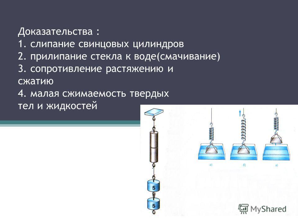 Доказательства : 1. слипание свинцовых цилиндров 2. прилипание стекла к воде(смачивание) 3. сопротивление растяжению и сжатию 4. малая сжимаемость твердых тел и жидкостей