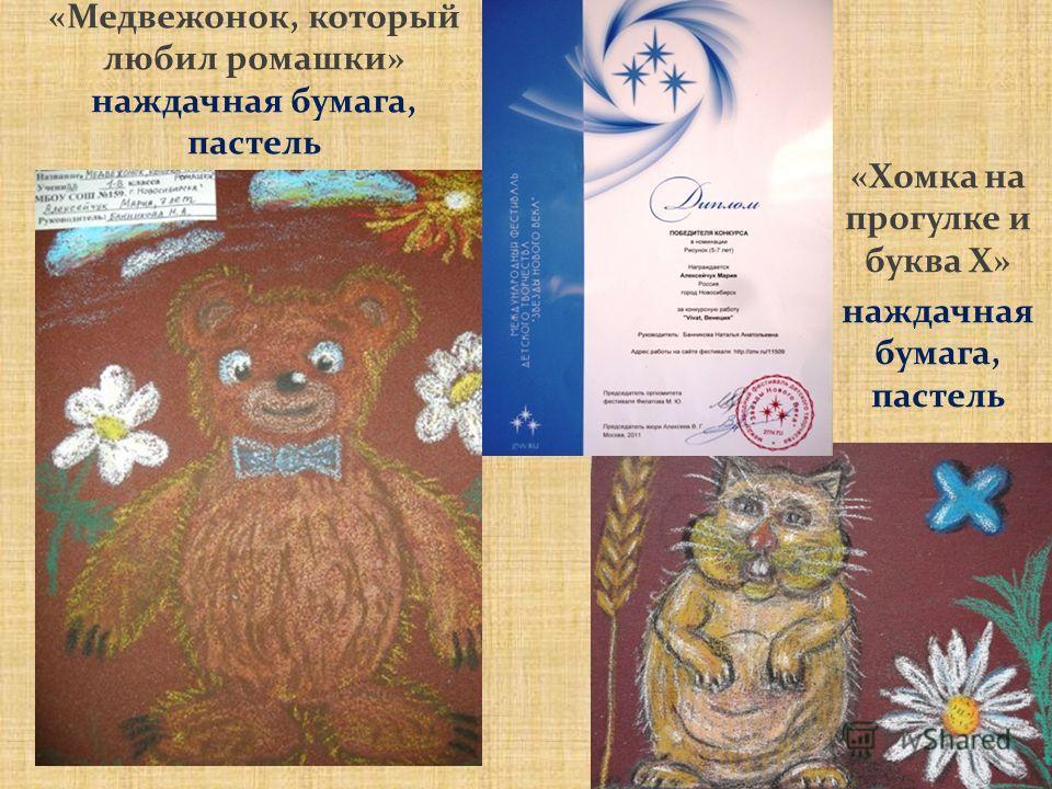 «Медвежонок, который любил ромашки» наждачная бумага, пастель «Хомка на прогулке и буква Х» наждачная бумага, пастель