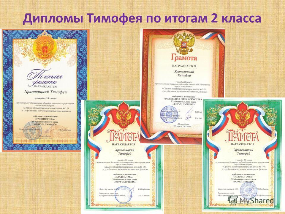 Дипломы Тимофея по итогам 2 класса