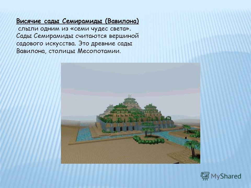 Висячие сады Семирамиды (Вавилона) слыли одним из «семи чудес света». Сады Семирамиды считаются вершиной садового искусства. Это древние сады Вавилона, столицы Месопотамии.