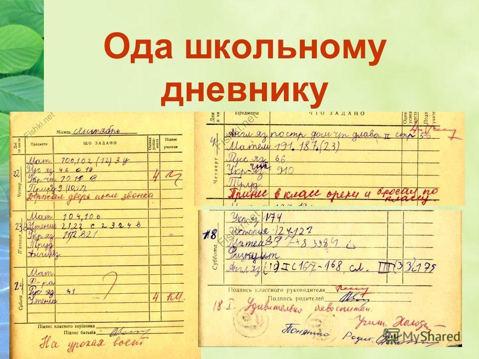 Ода школьному дневнику