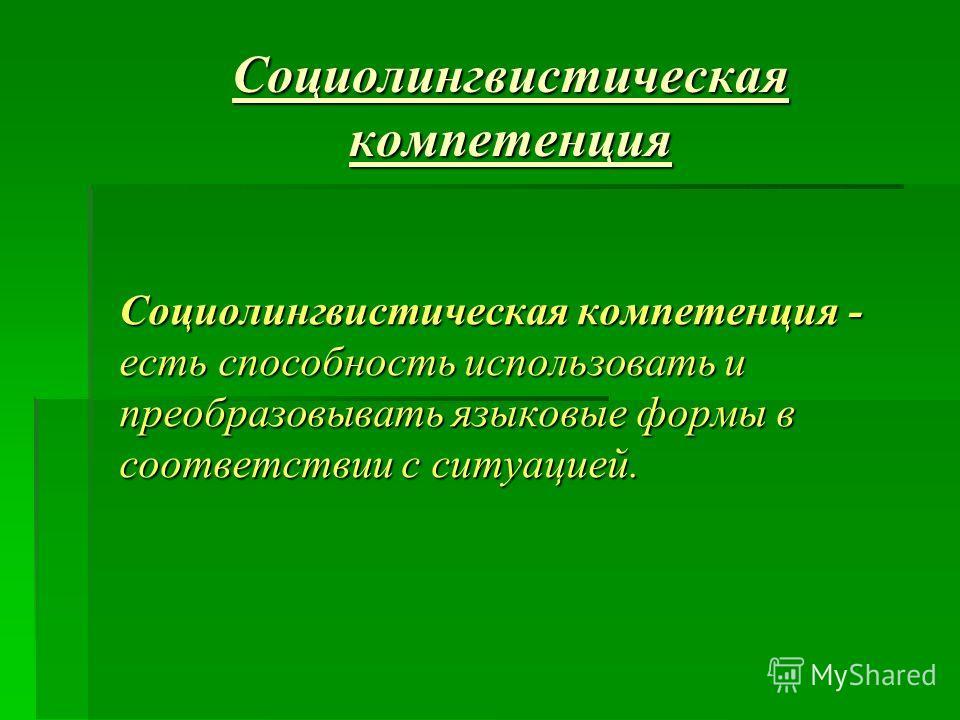Социолингвистическая компетенция Социолингвистическая компетенция - есть способность использовать и преобразовывать языковые формы в соответствии с ситуацией.