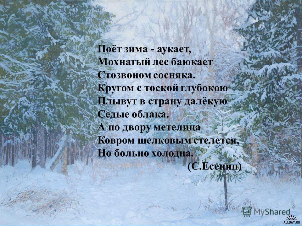 Поёт зима - аукает, Мохнатый лес баюкает Стозвоном сосняка. Кругом с тоской глубокою Плывут в страну далёкую Седые облака. А по двору метелица Ковром шелковым стелется, Но больно холодна. (С.Есенин)