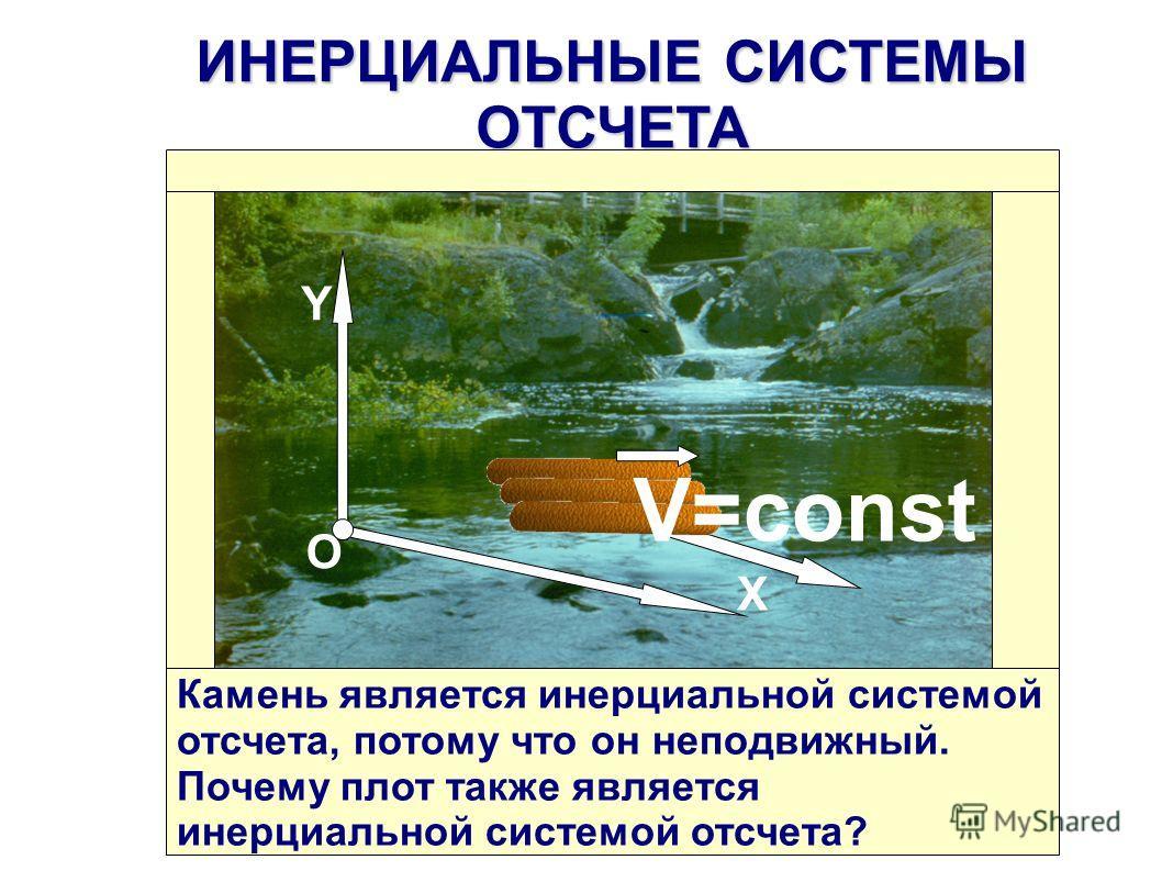 О Y X V=const ИНЕРЦИАЛЬНЫЕСИСТЕМЫ ОТСЧЕТА ИНЕРЦИАЛЬНЫЕ СИСТЕМЫ ОТСЧЕТА Камень является инерциальной системой отсчета, потому что он неподвижный. Почему плот также является инерциальной системой отсчета?