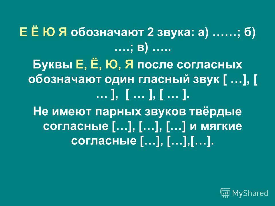 Е Ё Ю Я обозначают 2 звука: а) ……; б) ….; в) ….. Буквы Е, Ё, Ю, Я после согласных обозначают один гласный звук [ …], [ … ], [ … ], [ … ]. Не имеют парных звуков твёрдые согласные […], […], […] и мягкие согласные […], […],[…].