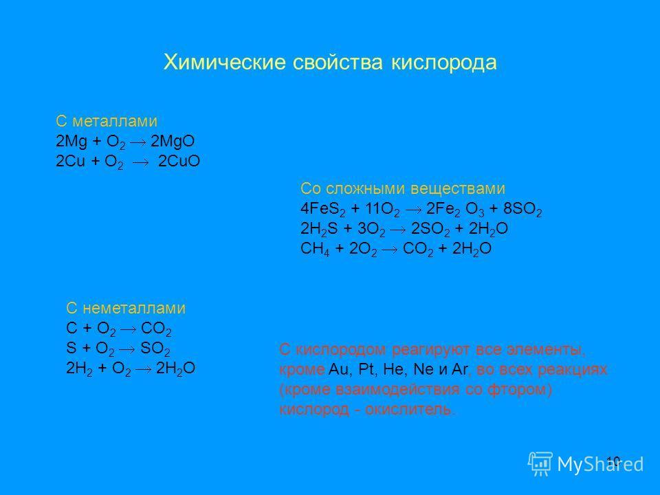 10 С металлами 2Mg + O 2 2MgO 2Cu + O 2 2CuO С неметаллами C + O 2 CO 2 S + O 2 SO 2 2H 2 + O 2 2H 2 O Со сложными веществами 4FeS 2 + 11O 2 2Fe 2 O 3 + 8SO 2 2H 2 S + 3O 2 2SO 2 + 2H 2 O CH 4 + 2O 2 CO 2 + 2H 2 O Химические свойства кислорода С кисл