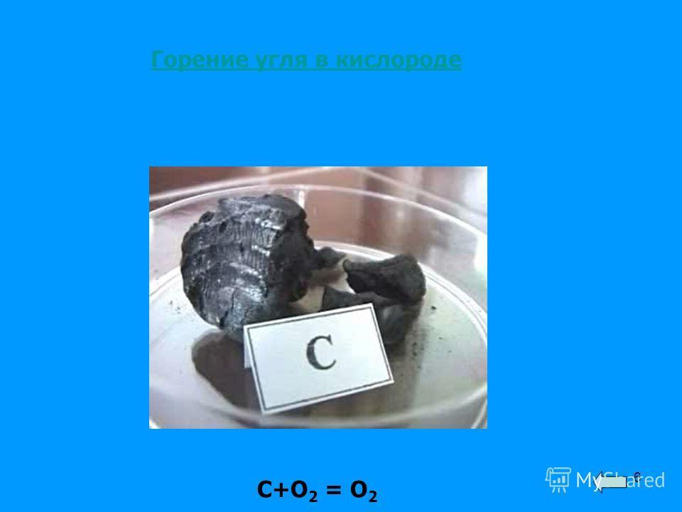 6 Горение угля в кислороде С+О 2 = О 2