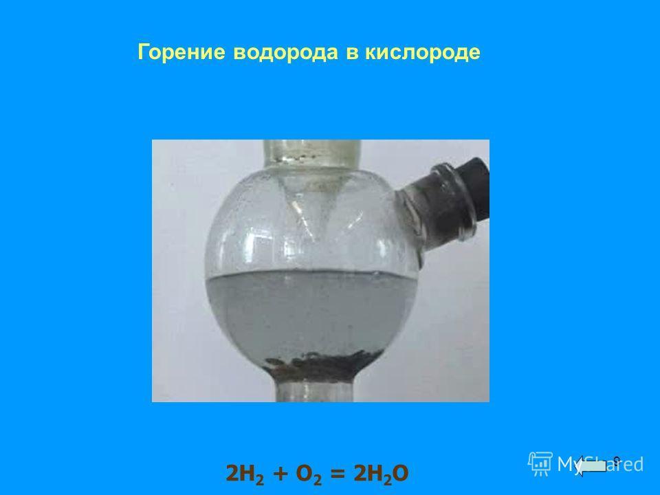 9 Горение водорода в кислороде 2Н 2 + О 2 = 2Н 2 О