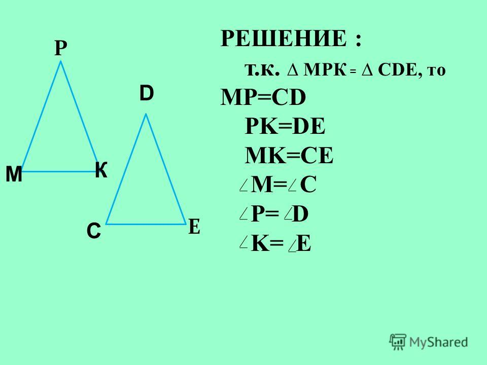 Р C E D К М РЕШЕНИЕ : т.к. МРК = CDE, то MP=CD PK=DE MK=CE M= C P= D K= E