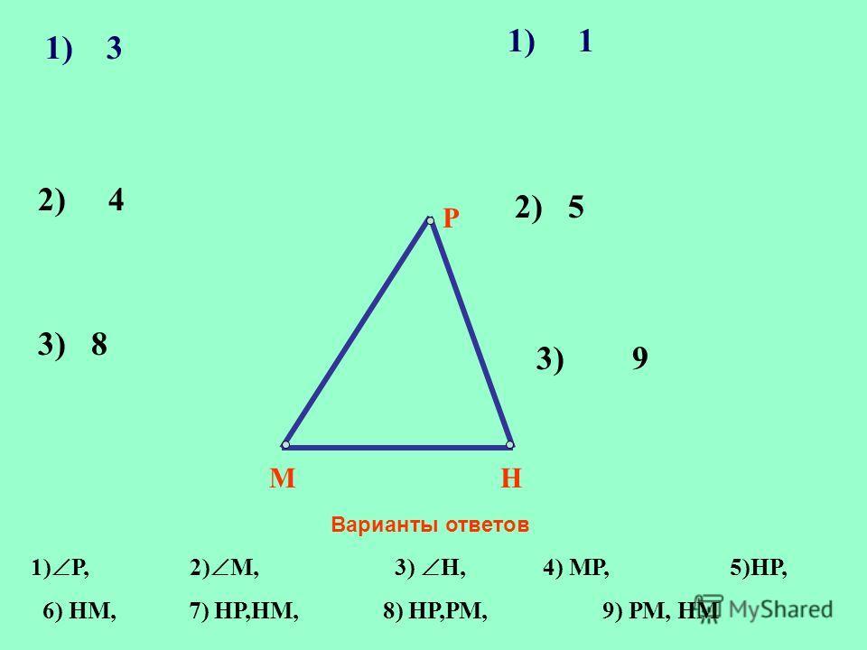 1) 3 М Р Н 3) 8 2) 4 2) 5 3) 9 Варианты ответов 1) Р, 2) М, 3) Н, 4) МР, 5)НР, 6) НМ, 7) НР,НМ, 8) НР,РМ, 9) РМ, НМ 1) 1