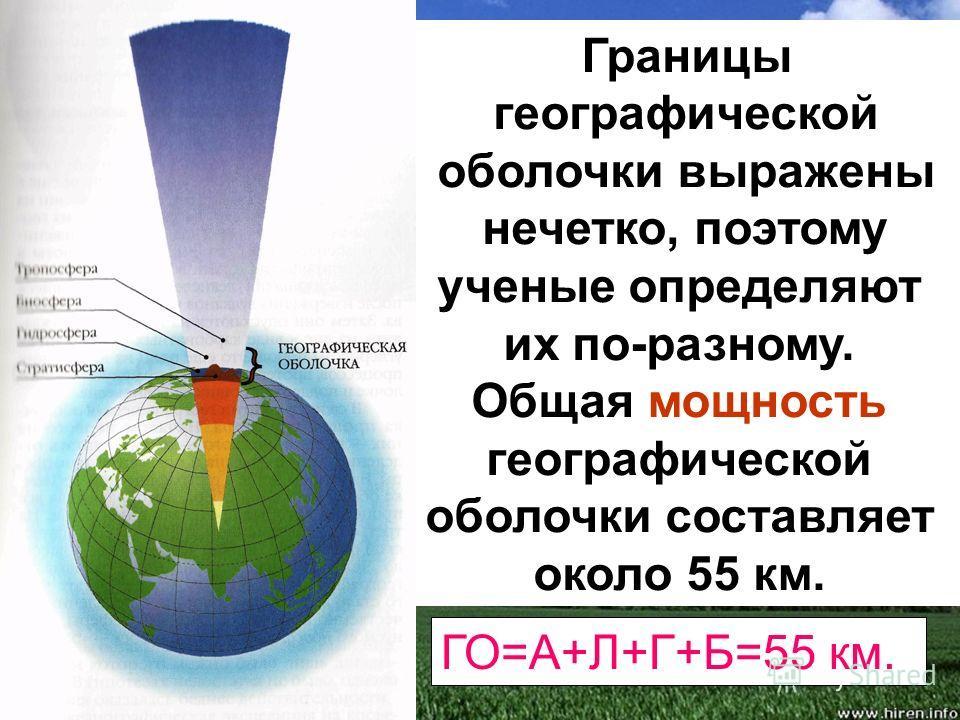Границы географической оболочки выражены нечетко, поэтому ученые определяют их по-разному. Общая мощность географической оболочки составляет около 55 км. ГО=А+Л+Г+Б=55 км.