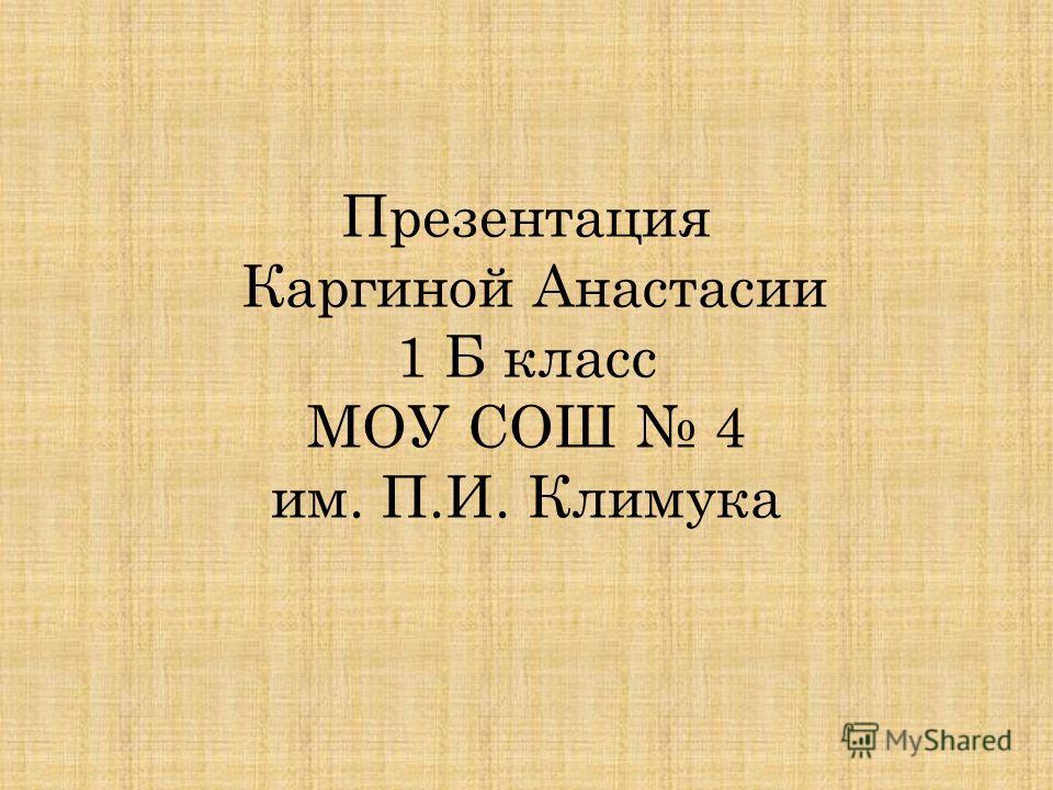 Презентация Каргиной Анастасии 1 Б класс МОУ СОШ 4 им. П.И. Климука