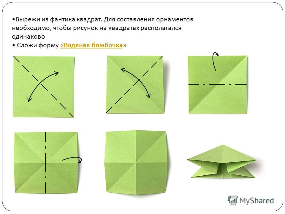 Вырежи из фантика квадрат. Для составления орнаментов необходимо, чтобы рисунок на квадратах располагался одинаково Сложи форму «Водяная бомбочка».«Водяная бомбочка