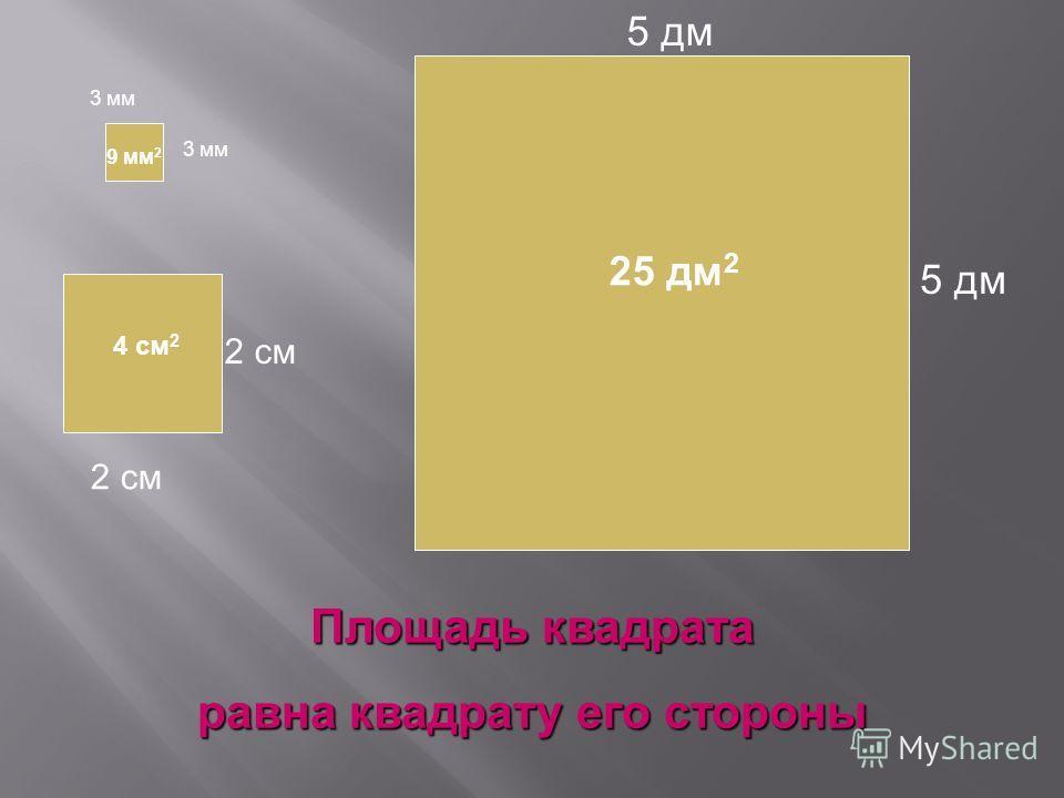 3 мм 2 см 5 дм Площадь квадрата равна квадрату его стороны 9 мм 2 4 см 2 25 дм 2