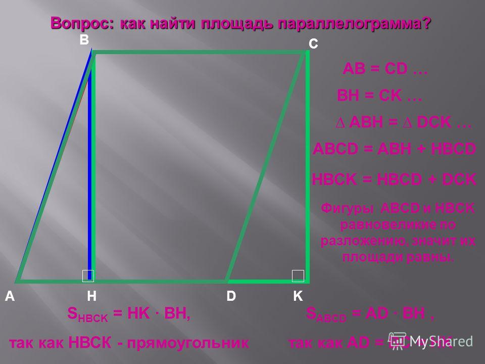 KA B C D H Вопрос: как найти площадь параллелограмма? АВ = CD … BH = CK … ABH = DCK … ABCD = ABH + HBCD HBCK = HBCD + DCK Фигуры ABCD и HBCK равновеликие по разложению, значит их площади равны. S ABCD = AD · BH, так как AD = BC = HK S HBCK = HK · BH,