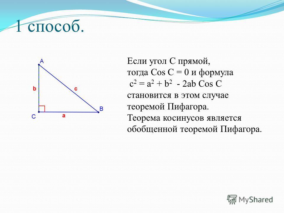 Если угол С прямой, тогда Cos C = 0 и формула c 2 = a 2 + b 2 - 2ab Cos C становится в этом случае теоремой Пифагора. Теорема косинусов является обобщенной теоремой Пифагора.