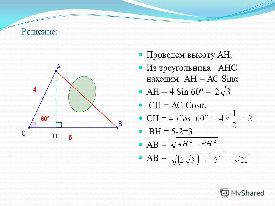 Решение: Проведем высоту АН. Из треугольника АНС находим АН = АС Sinα АН = 4 Sin 60 0 = СН = АС Cosα. СН = ВН = 5-2=3. АВ = Н