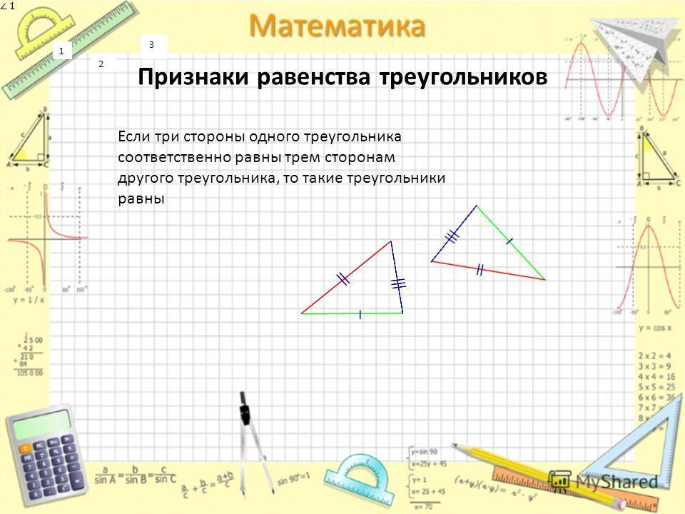 Признаки равенства треугольников 3 1 2 3 1 2 Если три стороны одного треугольника соответственно равны трем сторонам другого треугольника, то такие треугольники равны