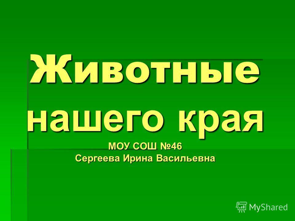 Животные нашего края МОУ СОШ 46 Сергеева Ирина Васильевна
