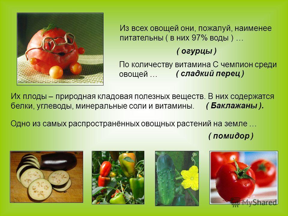 Из всех овощей они, пожалуй, наименее питательны ( в них 97% воды ) … ( огурцы ) По количеству витамина С чемпион среди овощей … ( сладкий перец ) Их плоды – природная кладовая полезных веществ. В них содержатся белки, углеводы, минеральные соли и ви