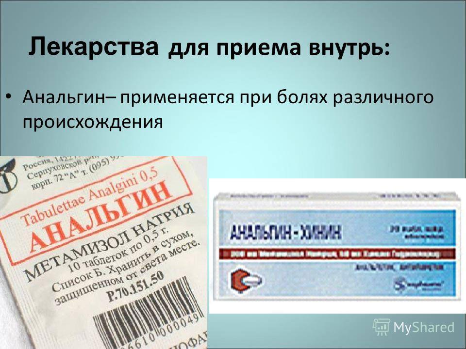 Лекарства для приема внутрь: Анальгин– применяется при болях различного происхождения