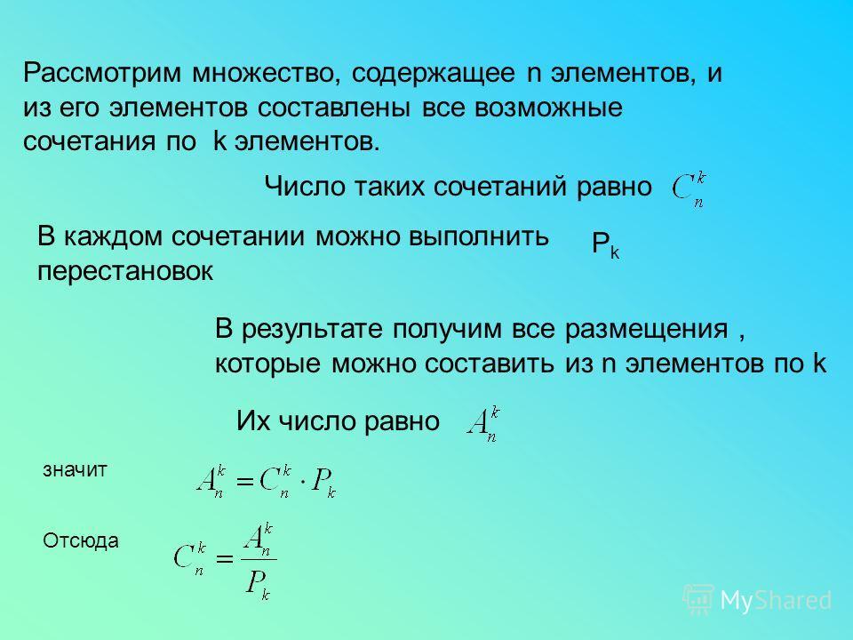 Рассмотрим множество, содержащее n элементов, и из его элементов составлены все возможные сочетания по k элементов. Число таких сочетаний равно В каждом сочетании можно выполнить перестановок РkРk В результате получим все размещения, которые можно со