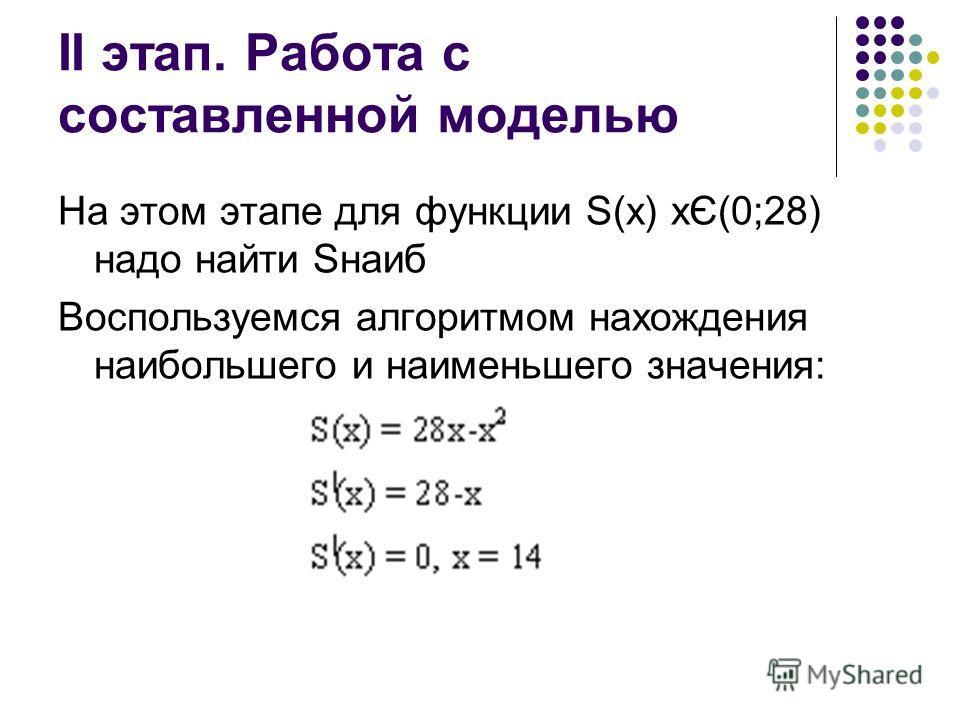 II этап. Работа с составленной моделью На этом этапе для функции S(x) хЄ(0;28) надо найти Sнаиб Воспользуемся алгоритмом нахождения наибольшего и наименьшего значения: